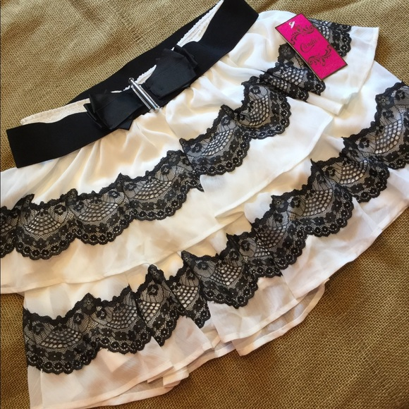 Candie's Dresses & Skirts - Candie's black lace and light cream skirt